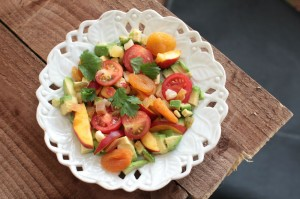 Avocado Peach Salad with Cherry Tomatoes and Apricots